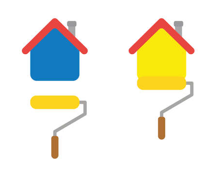 Vector icon set of painting house with paint roller brush. Flat color style.