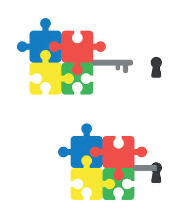 Vector icon set of connected puzzle pieces key and keyhole. Flat color style.