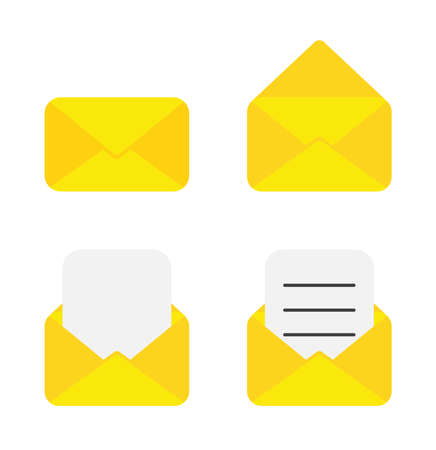 Vector icon set of envelope. Closed, opened, empty and with blank and written papers. Flat color style.