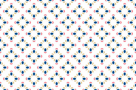 Seamless geometric pattern. Blue, brown and red colors on white background. 写真素材