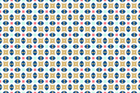 Seamless geometric pattern. Blue, red and brown colors on white background.