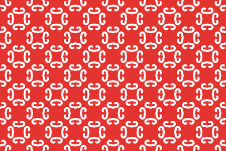 Seamless geometric pattern. White colors on red background.