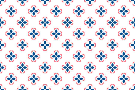 Seamless geometric pattern. Blue and red colors on white background.