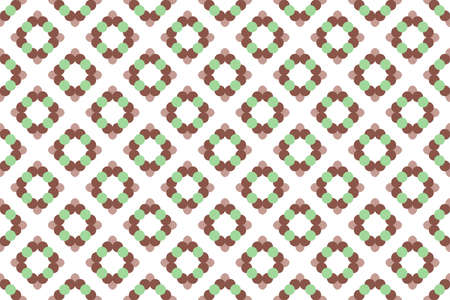 Seamless geometric pattern. Brown and green colors on white background.