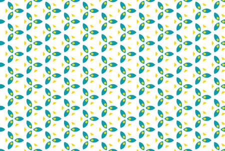 Seamless geometric pattern. Turquoise and yellow colors on white background.