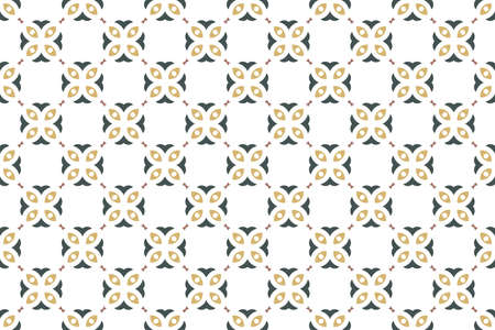 Seamless geometric pattern. Blue and brown colors on white background.