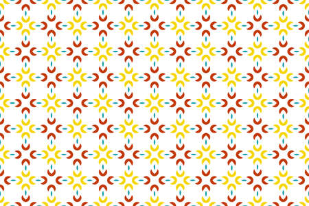 Seamless geometric pattern. Yellow, red and turquoise colors on white background.