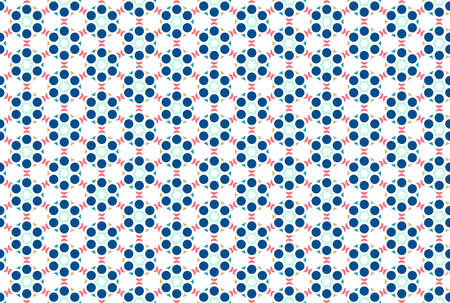 Seamless geometric pattern. Blue, turquoise, brown and red colors on white background.