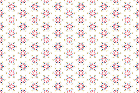 Seamless geometric pattern. Brown, blue and red colors on white background. 写真素材