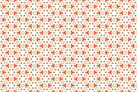 Seamless geometric pattern. Red, yellow and brown colors on white background.