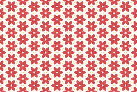 Seamless geometric pattern. Red and yellow colors on white background.