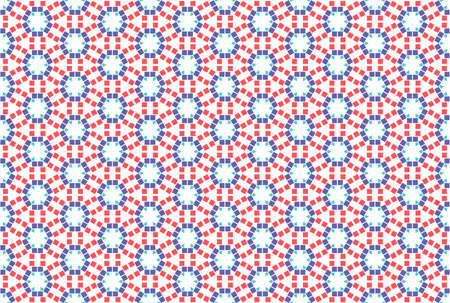 Seamless geometric pattern. Red, purple and turquoise colors on white background.