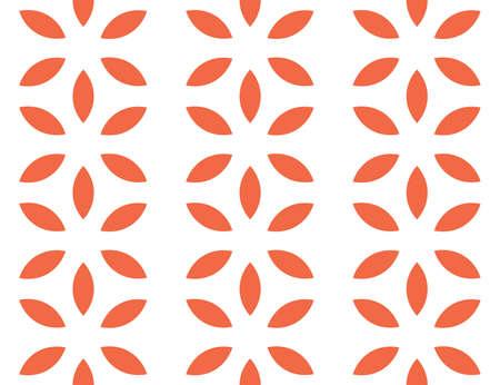 Vector seamless geometric pattern. Orange flowers on white background.