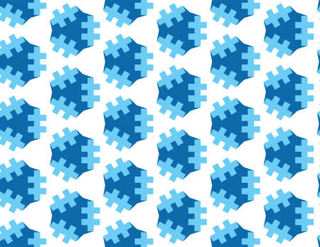 Vector seamless geometric pattern. Light and dark blue lines, shapes on white background.