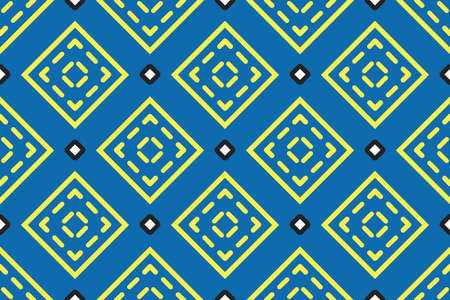 Vector seamless geometric pattern. Shaped yellow, black and white squares, outlines, lines on blue background.