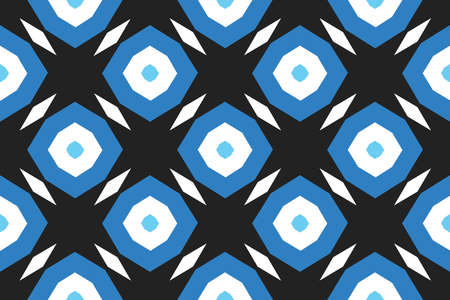 Vector seamless geometric pattern. Shaped blue and white octagonals and diamonds on black background.  イラスト・ベクター素材