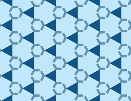 Vector seamless geometric pattern. Shaped dark blue hexagons and triangles on light blue background.  イラスト・ベクター素材