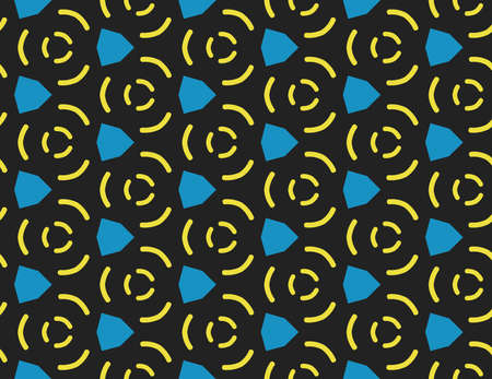 Vector seamless geometric pattern. Shaped in yellow and blue colors on black background.