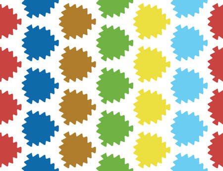 Vector seamless geometric pattern. Shaped red, blue, brown, green, yellow leaves on white background.