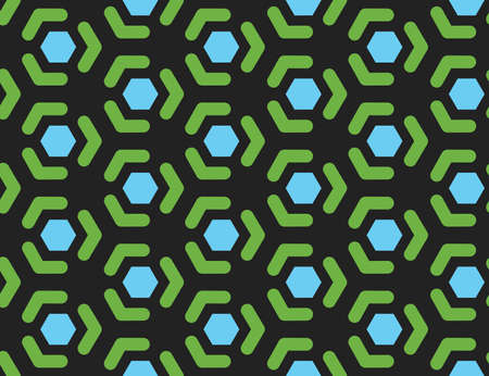 Vector seamless geometric pattern. Shaped blue hexagons, green lines, arrows on black background.