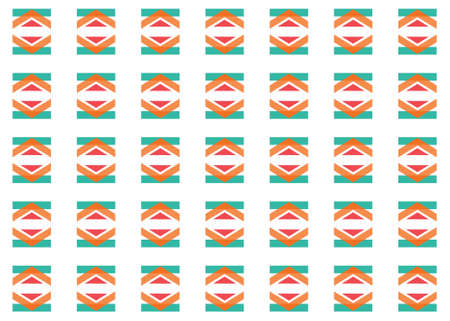 Seamless geometric pattern design illustration. In blue, orange and red colors on white background.