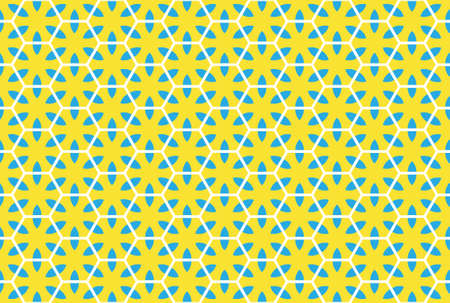 Seamless geometric pattern design illustration. In yellow, blue and white colors.