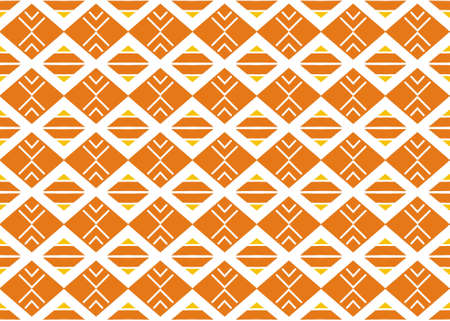 Seamless geometric pattern design illustration. In yellow, orange and white colors. Imagens