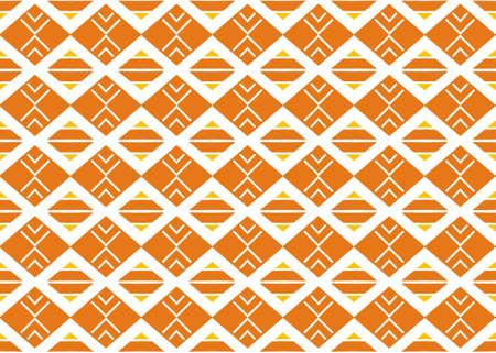 Seamless geometric pattern design illustration. In yellow, orange and white colors. 版權商用圖片