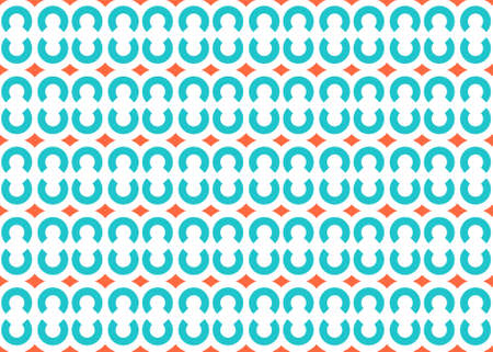 Seamless geometric pattern design illustration. In blue and orange colors on white background.