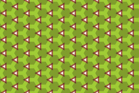 Seamless geometric pattern design illustration. In green, brown and white colors.