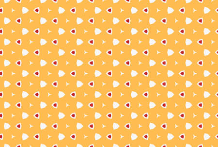 Seamless geometric pattern design illustration. In yellow, red and white colors. Imagens