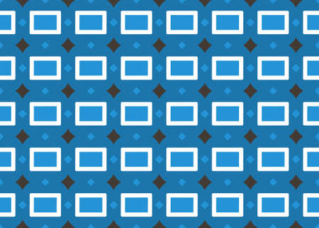 Seamless geometric pattern design illustration. In blue, white and black colors.