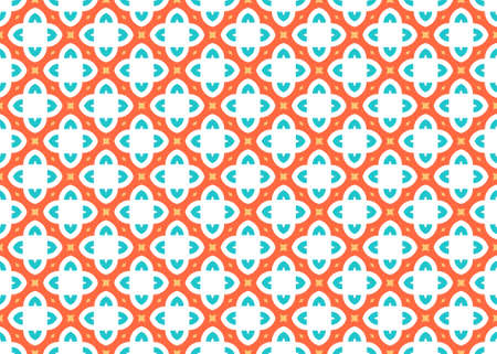 Seamless geometric pattern design illustration. In blue, orange and yellow colors on white background.