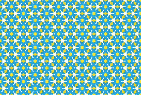 Seamless geometric pattern design illustration. In blue, yellow and white colors. Imagens