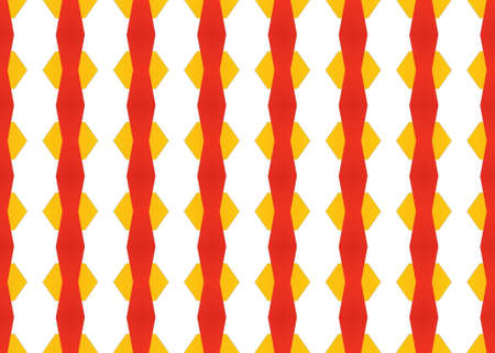 Seamless geometric pattern design illustration. In red and yellow colors on white background. Imagens