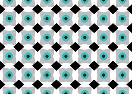 Seamless geometric pattern design illustration. In black, white, grey and blue colors.