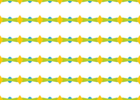Seamless geometric pattern design illustration. In green, yellow and blue colors on white background.