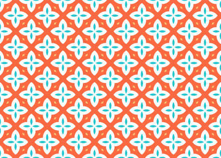 Seamless geometric pattern design illustration. In orange, yellow, blue and white colors.