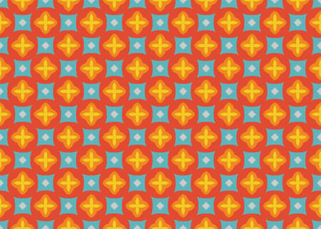 Seamless geometric pattern design illustration. In red, orange, yellow, blue and grey colors.