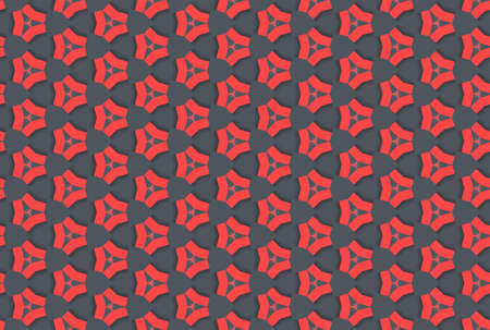 Seamless geometric pattern design illustration. In red and black colors.