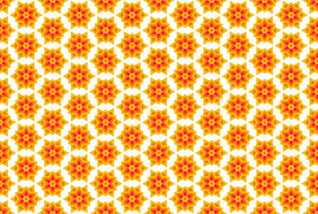 Seamless geometric pattern design illustration. In yellow, orange and pink colors on white background.