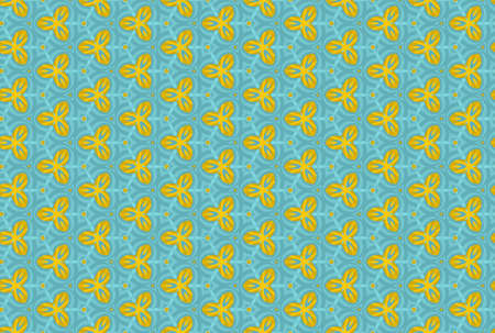 Seamless geometric pattern design illustration. In blue and yellow colors.