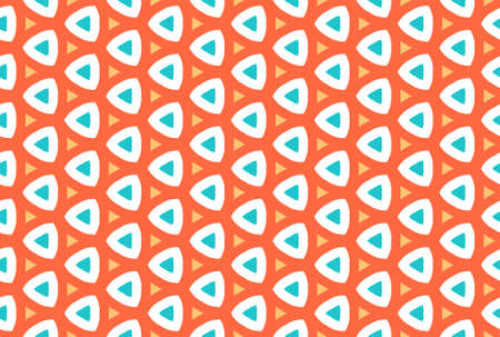 Seamless geometric pattern design illustration. In red, yellow, blue and white colors. Imagens
