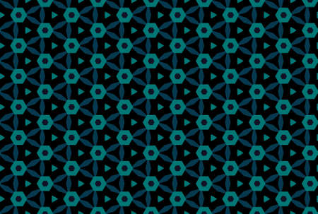 Seamless geometric pattern design illustration. In blue and black colors. Imagens