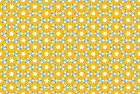 Seamless geometric pattern design illustration. In orange, blue, grey and white colors.