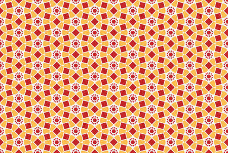 Seamless geometric pattern design illustration. In red, yellow and white colors.