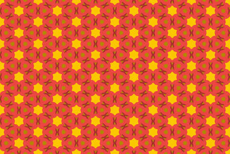 Seamless geometric pattern design illustration. In red, yellow and brown colors.