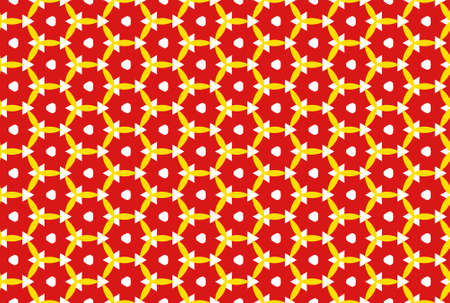 Seamless geometric pattern design illustration. In yellow and red colors.