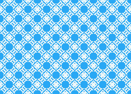 Seamless geometric pattern design illustration. In blue and white colors.