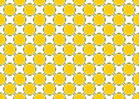 Seamless geometric pattern design illustration. In green and yellow colors on white background.